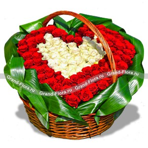 Together forever - a basket of red and white roses in the form of heart
