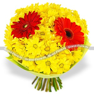 He and she - bouquet of chrysanthemums and gerberas