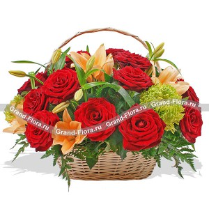 My whim - a basket of roses and lilies