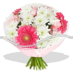 In the arms of love - a bouquet of chrysanthemums and gerberas