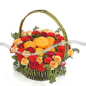 "A basket of fruit and flowers""Joy ​​"""