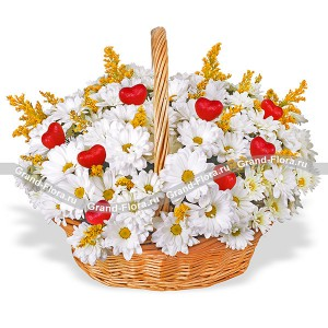 Magical day - a basket of chrysanthemums with hearts