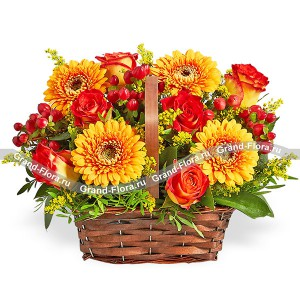 Legends of the Fall - a basket of orange roses and gerberas