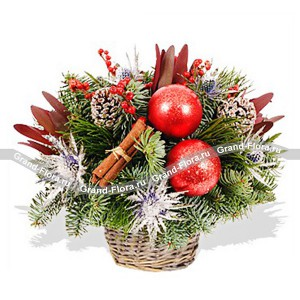 New Year's basket of happiness - a basket with pine needles, pine cones and Christmas decorations